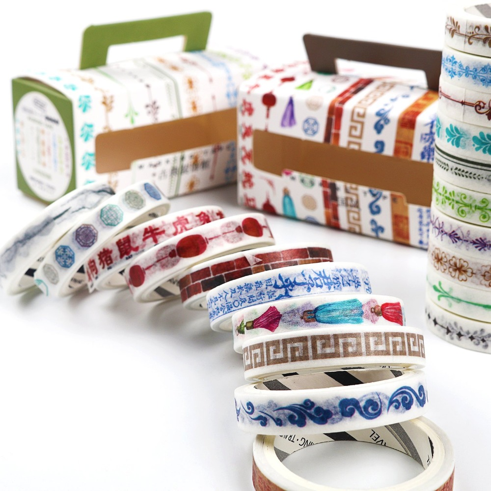 10Rolls/pack Flowers Geometry Alphabet Washi Masking Tape DIY Decor Scrapbooking Sticker Masking Paper Decoration Tape Adhesive triangle masking tape