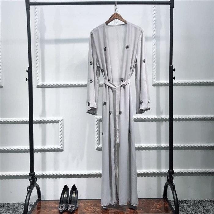 Muslim Embroidery Cardigan Abaya Full Dress Kimono Long Robe Gowns Tunic Jubah Katfan Middle East Ramadan Arab Islamic Clothing