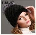 2013 novo feito à mão estilo Rainha 100% real pele de vison pele do inverno chapéu chapéu feito malha das mulheres e cap