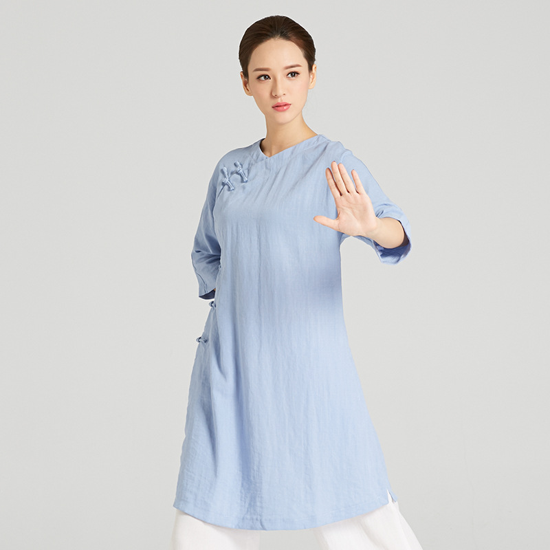 High-Quality Linen Wudang Female Gong Fu Robe 2