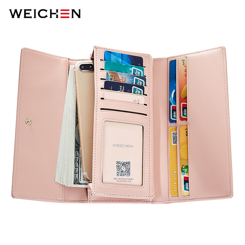 WEICHEN Casual Large Capacity Clutch Wallets Women's Leather Phone Pocket Card Holder Lady Purse Long Wallet Female Carteira цена 2017
