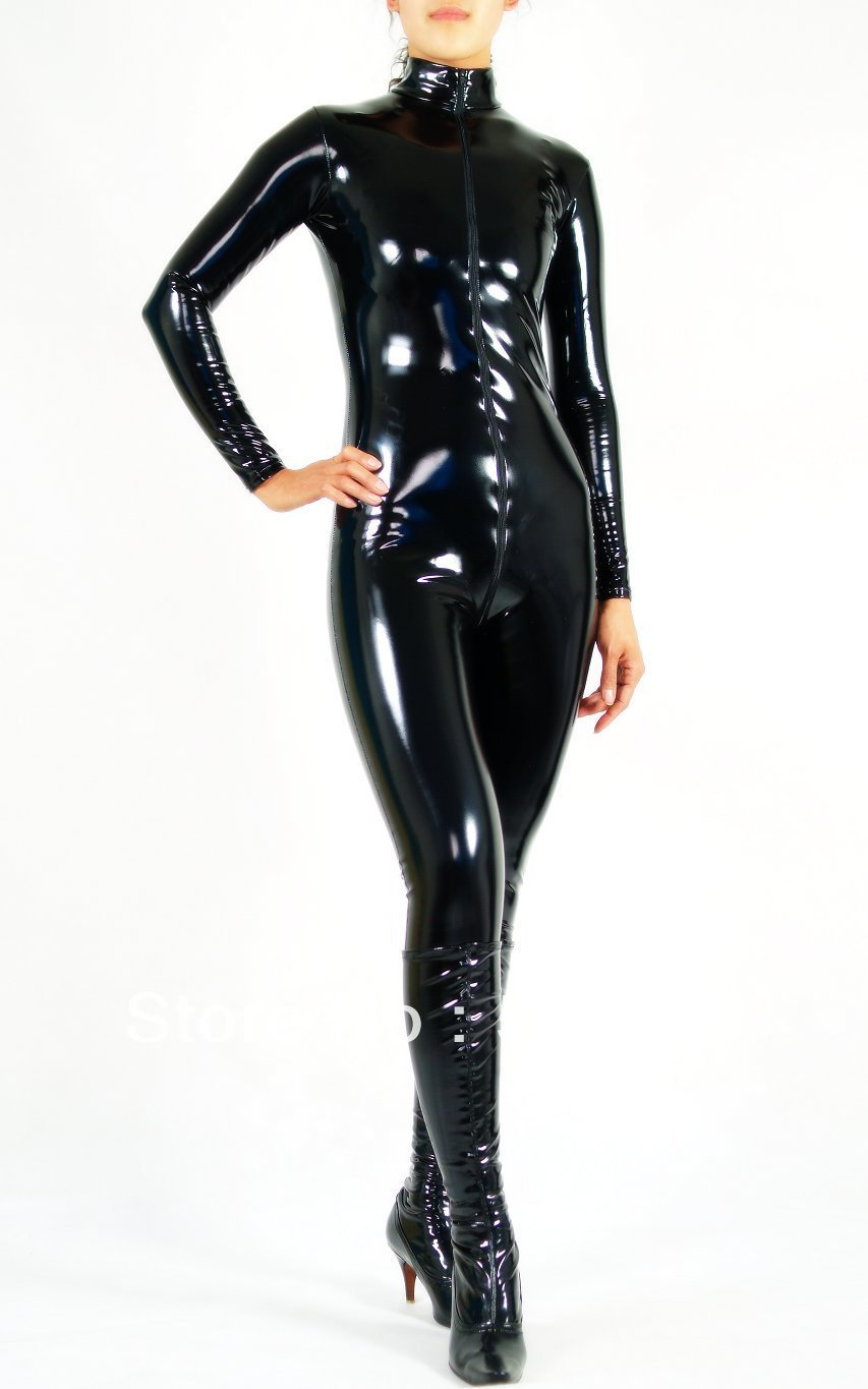 Free Shipping DHL Custom Made New Arrival Sexy Black PVC Zentai Catsuit Fancy Dress Zentai Suit