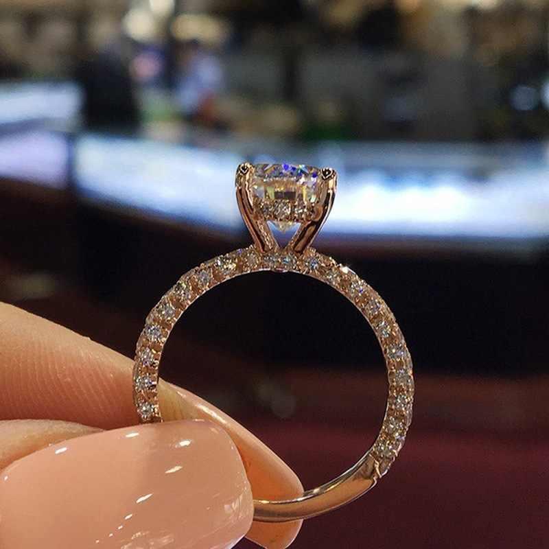 ขายร้อน 4 Claws Design แหวนทองแดงสำหรับแฟชั่นผู้หญิง Cubic Zirconia แหวนเจ้าหญิงหมั้นแหวนเครื่องประดับ