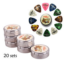 20sets Alice A011C Celluloid Guitar Pick Mini Cute Round Metal Box 12 pcs Plectrum 0.46 0.71 0.81 (mm) Mixed Thickness Wholesale(China)