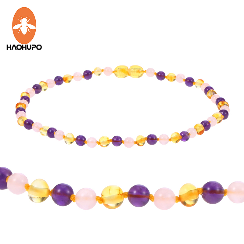 HAOHUPO 6 Design Amber Necklace Jewelry with Natural Rose Quartz Amethyst Gemstone Knotted Baltic Amber Bijoux for Baby Women(China)