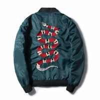 2018 hommes militaire vol Bobmer veste Design de mode Embroide Serpentine printemps veste manteau hommes Punk manteaux