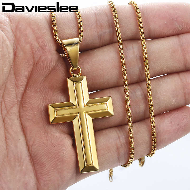 997d1de1c034c Davieslee Mens Womens Cross Pendant Necklace Carved Christian Religious  Mens Gold Pendants Fashion Woman Jewelry Gifts DGP301A