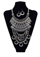 Gypsy Ancient Silver Gold Chain Women Exaggerated Metal Charm Pearl Geometric Maxi Statement Necklaces Pendants Fine