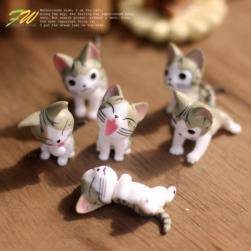 (6pcs/lot) Cheese cat miniature figurines toys cute lovely Model Kids Toys 4cm PVC japanese anime children figure world 151208 image