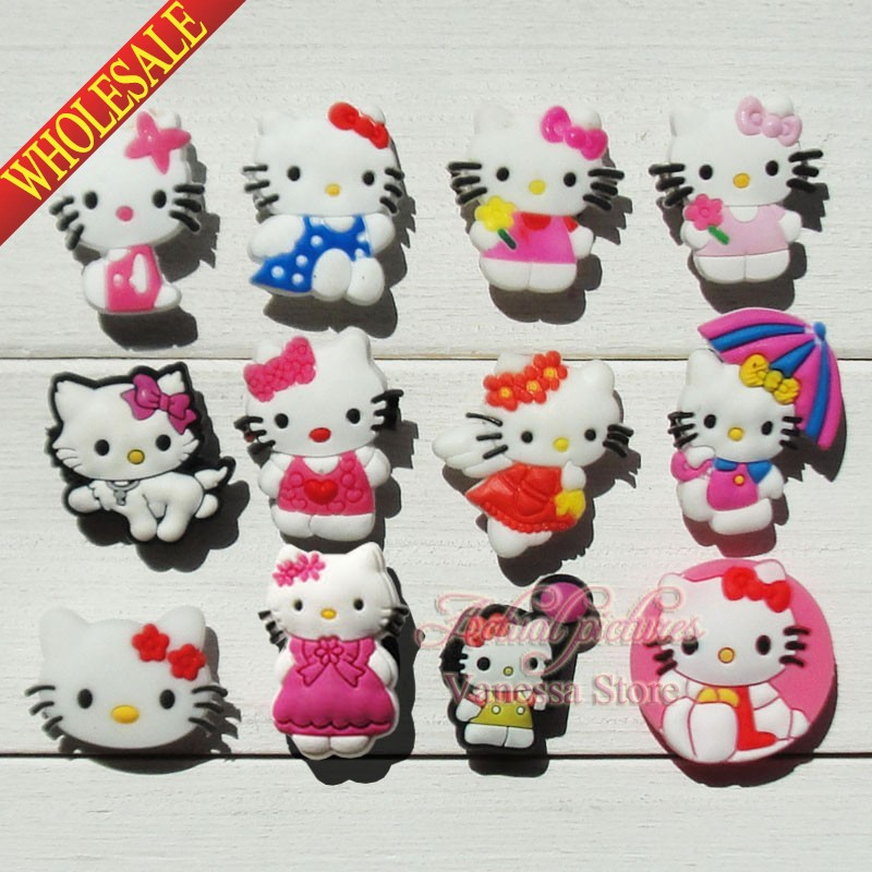 Cartoon Hello Kitty KT 24pcs/lot Shoe Decoration/shoe Charms/shoe Accessories Fit Croc & Shoe With Holes & Bands Kids Best Gift