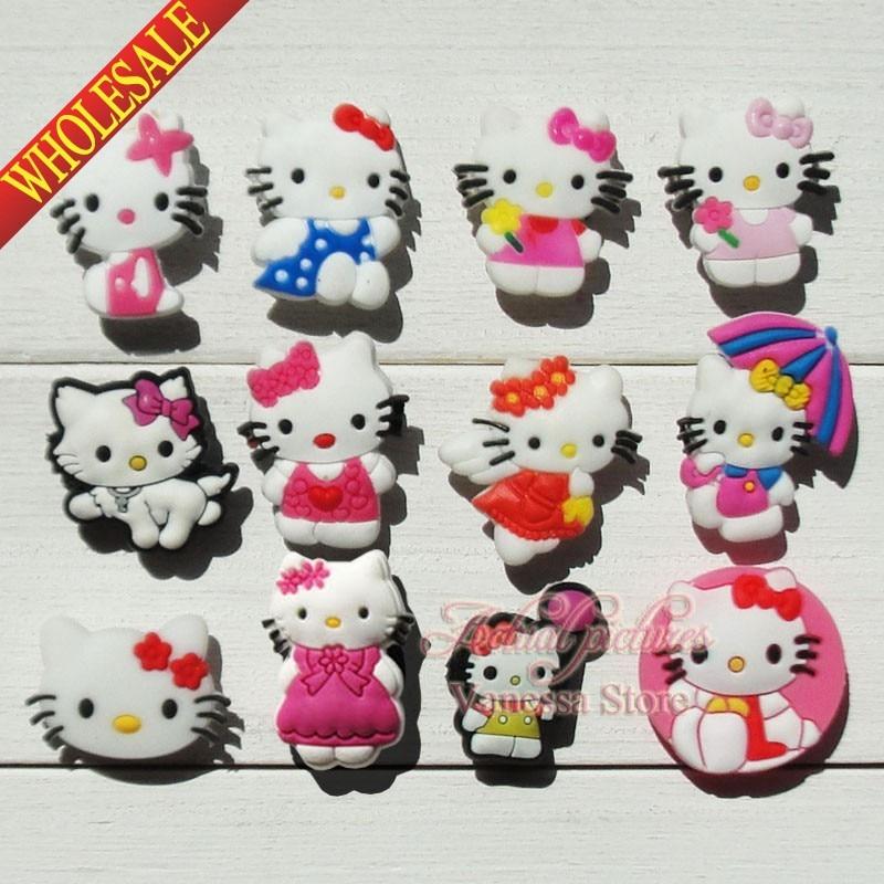 Cartoon Hello Kitty KT 24pcs/lot Shoe Decoration/shoe Charms/shoe Accessories Fit Croc & Shoe With Holes & Bands Kids Best Gift