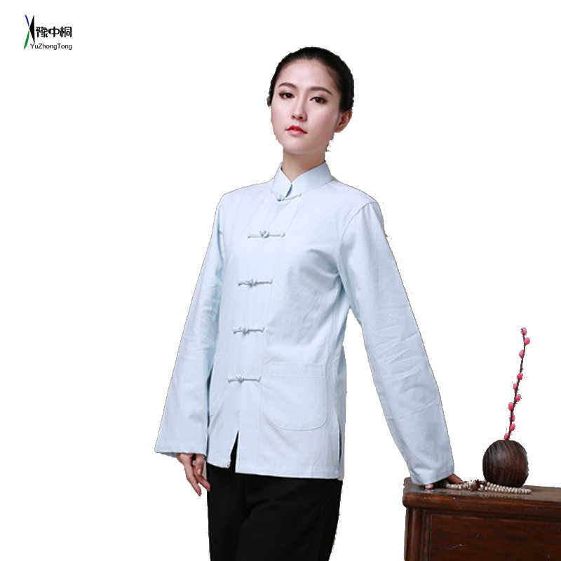 406ff81c4 Detail Feedback Questions about 100% Cotton Long Sleeve Jacket Traditional  Chinese Clothes Tang Suit Top Women Kung Fu Tai Chi Uniform Shirt Blouse  YZT0805 ...