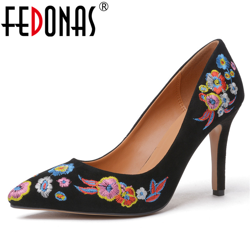 FEDONAS Embroider Women Pump Suede Leather Basic Slip On High Heels Sexy Pumps Female Autumn New