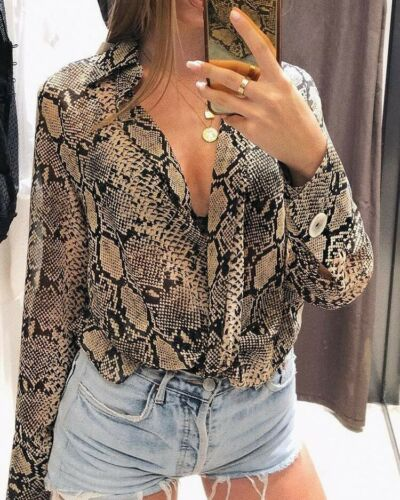 Women Snake Print Long Sleeve Turn Down Collor Loose Top Shirts Ladies Casual Button Blouse