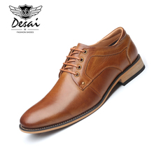 Desai New Men Dress Shoes Genuine Leather Mens Handmade Business Wedding Big Size Lace-Up Male Comfortable