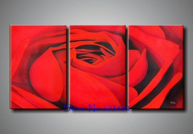 100 Hand Paint 3 Panel Canvas Art Red Ross Painting Wall Home Decor High