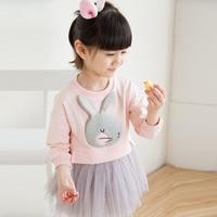 Lovely Cute 3D Rabbit Child Baby Girl Cotton Dress Korean Long Sleeve Autumn Sweet Kids Children