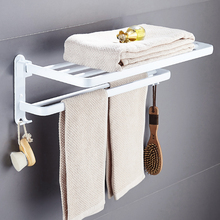 Bathroom Towel Rack Aluminum Alloy 63 cm Folding White Foldable Fixed Bath Holder Shelves Rail