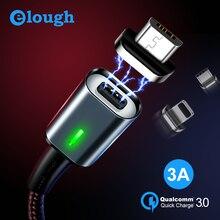 Elough 3A magnético Micro USB Cable para iPhone Samsung Xiaomi Cable de tipo C QC 3,0 de carga rápida del teléfono imán cargador cable USB Cable