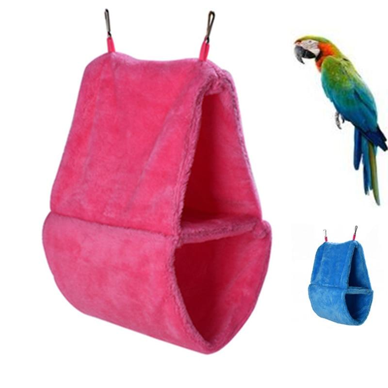 Double Layer Birds Hammock Tent Parrot House Bed Warm Coral Fleece Nest Hanging Bed House Bird Cages Nest Winter Bird Supplies