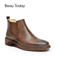 BeauToday Chelsea Boots Women Polished Cow Leather Round Toe Genuine Leather Elastic Band Lady Ankle Shoes handmade 03276