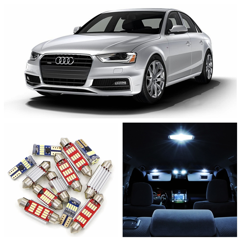 18pcs Canbus Car Super Bright White LED Light Bulbs Interior Package Kit For 2010-2015 Audi A4 B8 Avant Map Dome Trunk Lamp 2pcs 12v 31mm 36mm 39mm 41mm canbus led auto festoon light error free interior doom lamp car styling for volvo bmw audi benz