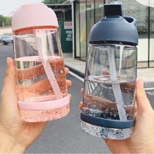 550/850/1000 ml 물 병 짚 음료 무료 귀여운 물 필터 병 내 체육관 플라스틱 스포츠 여행 마시는 병을 처리