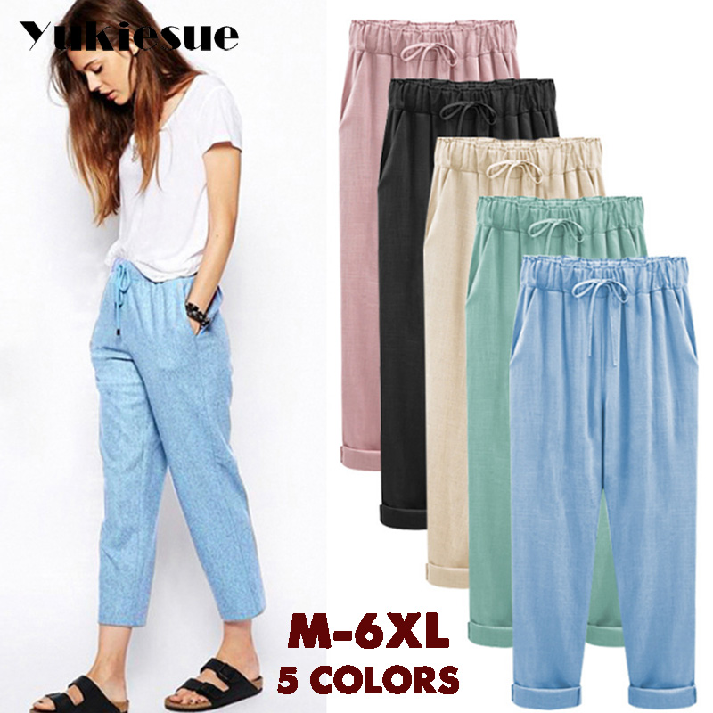 Harem   pants     capris   women 2018 summer style high waist loose candy color cotton linen   pants   female trousers Plus size M-6XL
