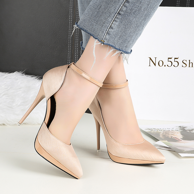 2018 Summer Women 12cm Thin Extreme High Heels Satin Silk Pumps Female Elegant Sweet Heels Shoes Scarpins Buckle Cheap Shoes 21