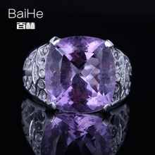 BAIHE Sterling Silver 925 8.5ct Certified Cushion Flawless Purple Genuine Amethyst Wedding Women Office/career Fine Jewelry Ring
