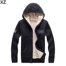 2016 Wool and cotton Cardigan Men winter thickenss velvet warm men's sweater long sleeve hooded sweater