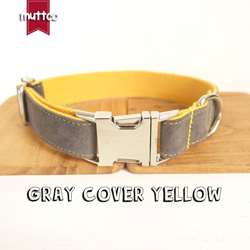 50pcs/lot MUTTCO wholesale self-design unique dog collar GRAY COVER YELLOW handmade nylon 5 sizes dog collars and leashes UDC026