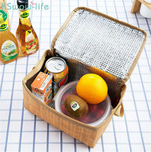 2Pcs Imitation Rattan Lunch Bag Thick Insulation Package Waterproof Insulation Bag Lunch Bag For Lunch Box Insulation Storage stainless steel insulation teapot lunch box 1 9l vacuum anti overflow with insulation bag long lasting insulation