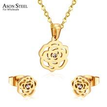 ASONSTEEL Bridal Jewelry Sets Stainless Steel Gold/Silver Color Romantic Flower Shape Pendants Charm Chain Necklace Earring