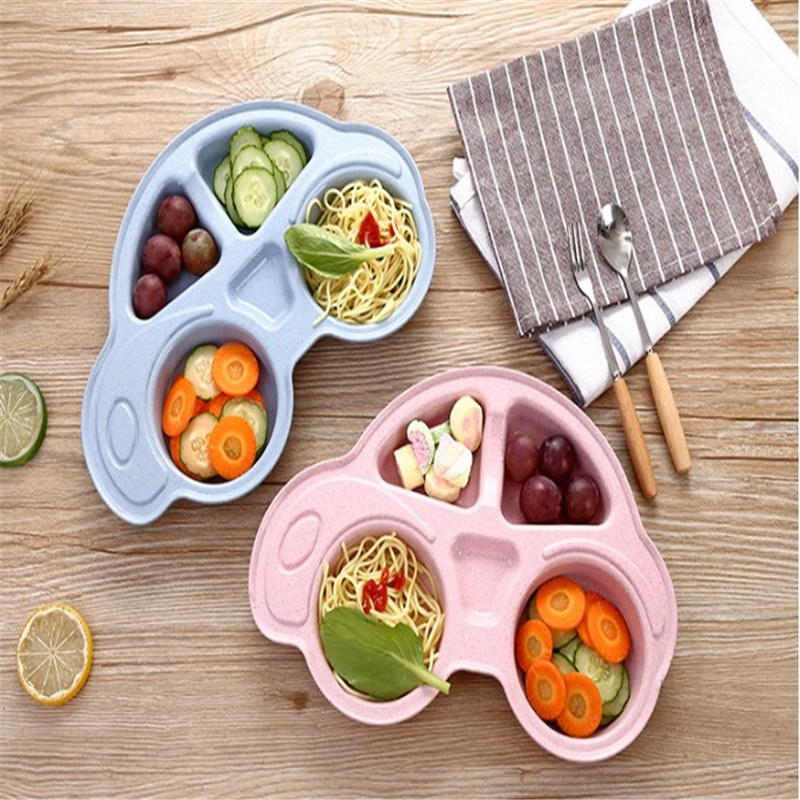Bamboo Fiber Infant Feeding Plate  Cute Car Shaped Wheat Straw Tableware For Baby Kids Dishes Children Plates