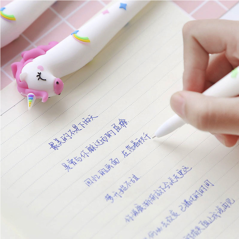 New Arrival Cute Kawaii Unicorn Pen Rainbow Color Gel Pens Blue Black Ink 0 5mm for Writing Kids Gift Office School Stationery in Gel Pens from Office School Supplies