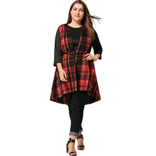 Plus Size 5XL Open Front With Belt High Low Plaid Waistcoat Women Casual Asymmetric Long Vest Big Size