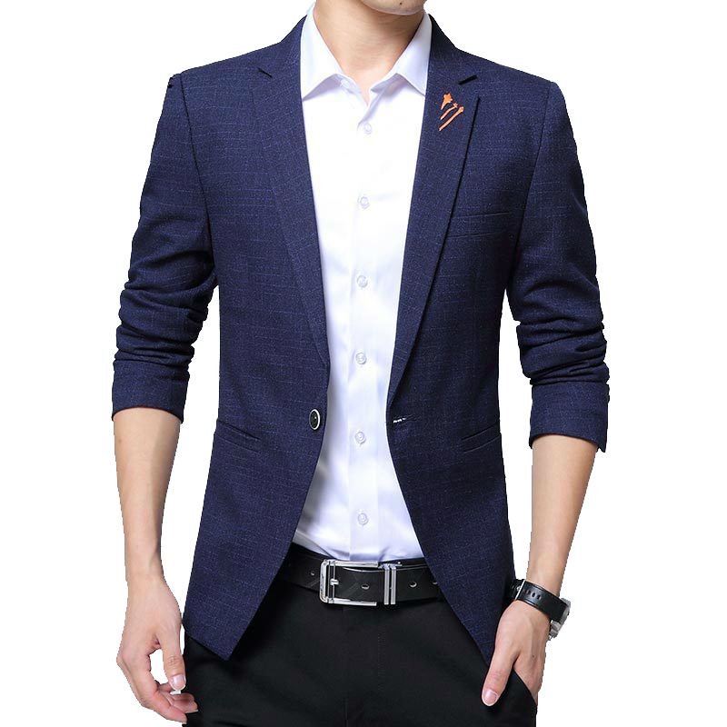 Men Blazer Designs 2019 New Fashion Plus Size Mens Plaid Blazer Slim Fit Men's Blazers And Suit Jacket Blaser Male
