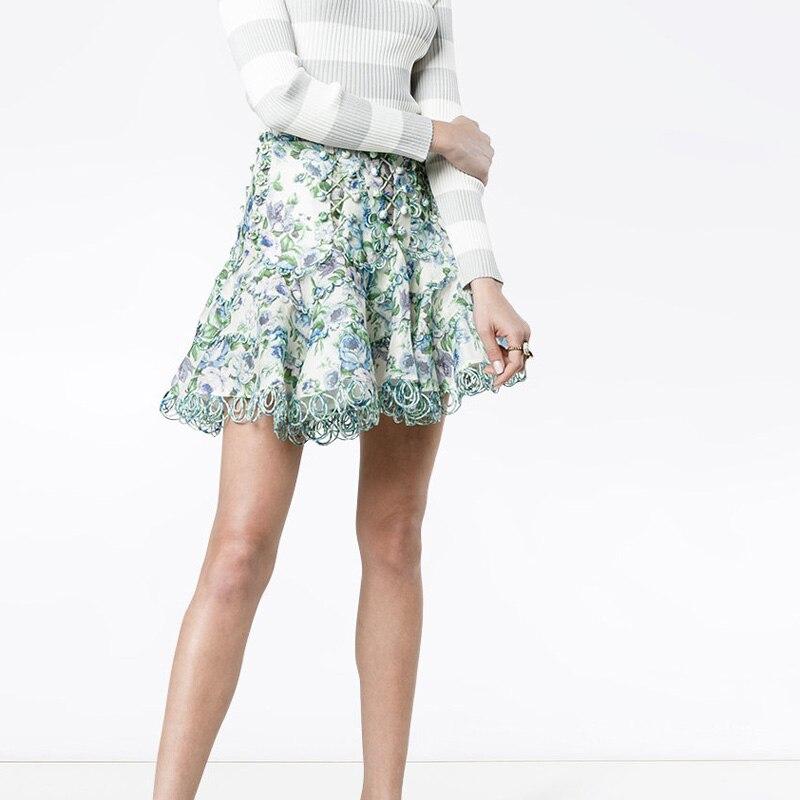 Богемные юбки с цветочным принтом, женская летняя Высококачественная подиумная дизайнерская мини юбка трапециевидной формы с высокой тали...