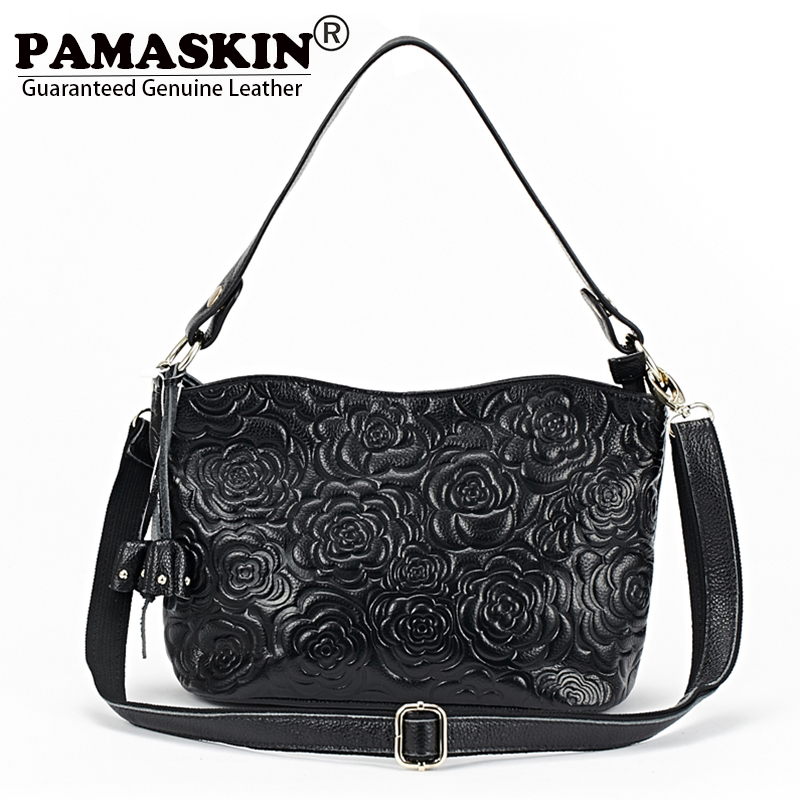 PAMASKIN Large Capacity Fashion Women Shoulder Bags Cross-body Bag Premium Real Leather Embossed Rose Flower Hot Female Handbags yuanyu 2018 new hot free shipping real thai crocodile women clutches dinner long women wallet large capacity women bag