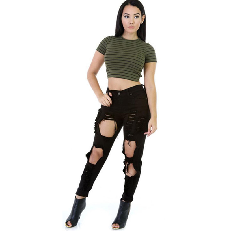 Black Hole Ripped Jeans for Women High Waist Skinny Slim Pencil Pants Women Skinny Pencil Jeans Denim Elastic Pants Trousers l45 ripped jeans for women 2016 high waist woman skinny pencil pants sexy holes black ripped jeans slim elastic trousers for women