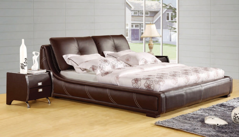 designer modern genuine real leather soft bed/double bed king/queen size bedroom home furniture brown color 1