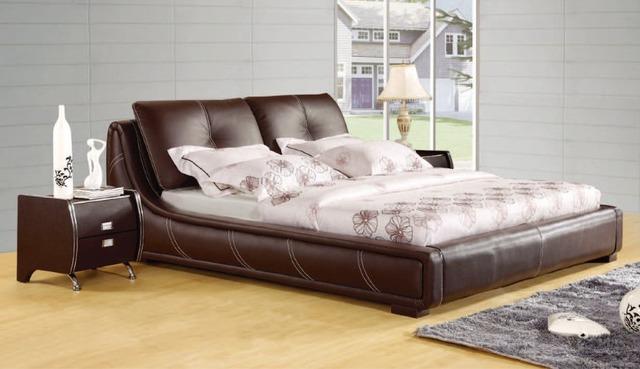 Diseño moderno de cuero verdadero genuino suave / cama doble tamaño king / queen muebles para el hogar dormitorio de color marrón