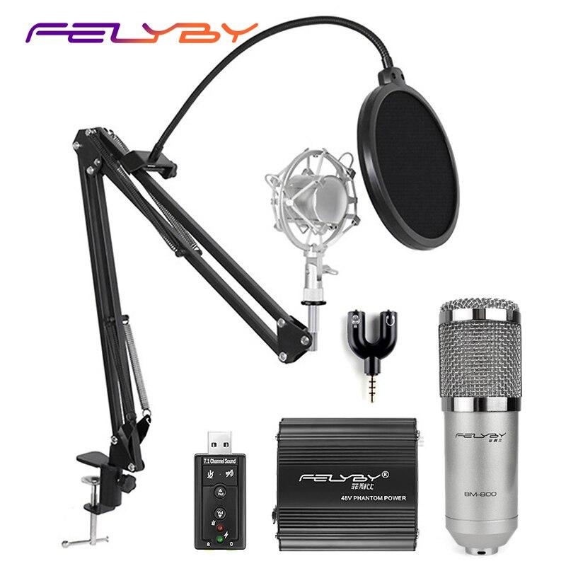 FELYBY professionale bm 800 microfono a condensatore per audio del computer karaoke microfoni mikrofon la registrazione in studio del 3.5mm set