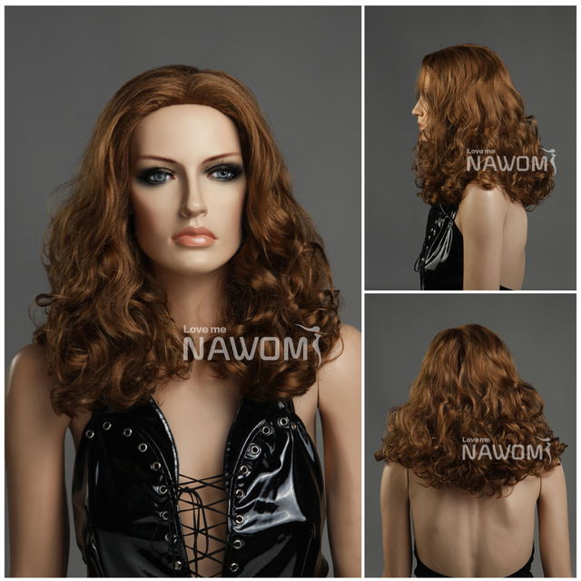 Free Shipping European brown girl beautiful curly hair wig  Mature women  Light Brown Wigs Long Curly Big Wave Brown Hair Wigs 95b9aae06