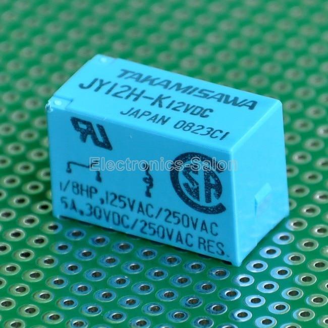 ( 2 pcs/lot ) TAKAMISAWA JY12H-K 12VDC SPST 5 Amp Power Relays.( 2 pcs/lot ) TAKAMISAWA JY12H-K 12VDC SPST 5 Amp Power Relays.