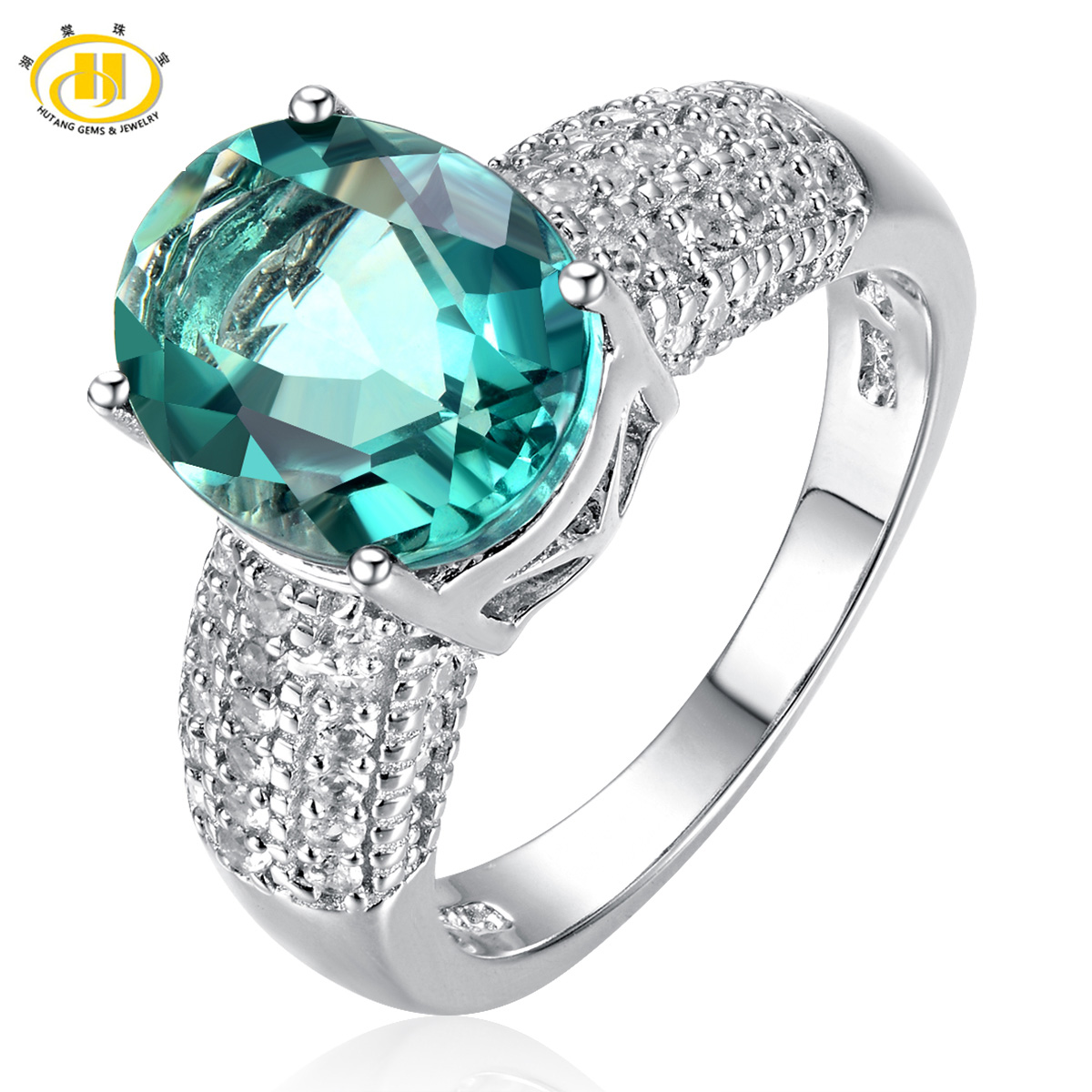 Trendy 925 Silver White Topaz Cocktail Ring Women Wedding Engagement Party Gift