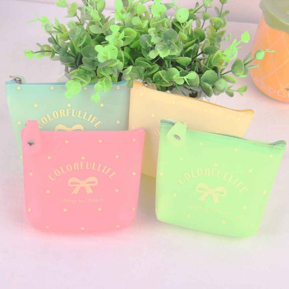 Creative Cartoon Lovely Wallet Women Candy Color Short Zipper Coin Purse Bowknot Style Earphone Card Key Storage Small Handy Bag