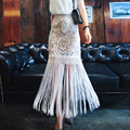 Las mujeres Del Verano de Encaje de Ganchillo Fringe Boho Falda Maxi 2016 de Moda Saia Longa Señoras vestidos de Cintura Alta de La Borla de La Falda de Encaje Blanco