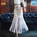 Mulheres Verão Rendas de Croché Franja Boho Maxi Saia 2016 Moda Saia Longa Senhoras de Cintura Alta Borla Saia de Renda Branca vestidos